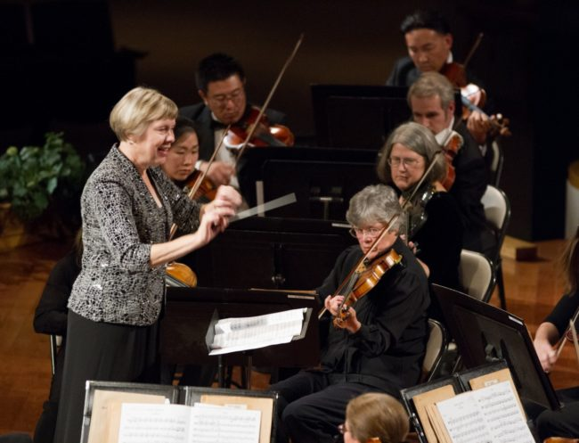 Conductor Bethany Pflueger leads members of the Pasadena Community Orchestra.