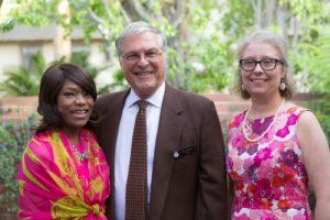 Principal Trudell Skinner of Blair High School, Mayor Terry Tornek, and Fefferman Award Winner Michele Manzanares